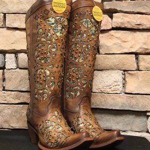 Corral Brown Glitter Inlay Embroidered Boots
